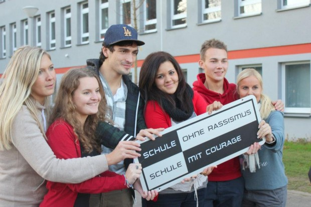Mats with some students to Support School without Racism