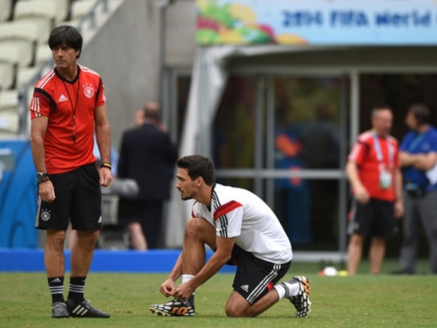 Mats Hummels with Germany coach Joachim Loew