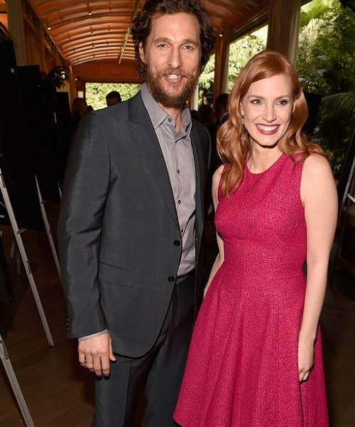 McConaughey posed with his Interstellar co-star Jessica Chastain