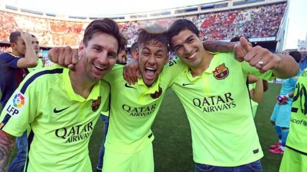 Celebrations with Neymar and Suarez