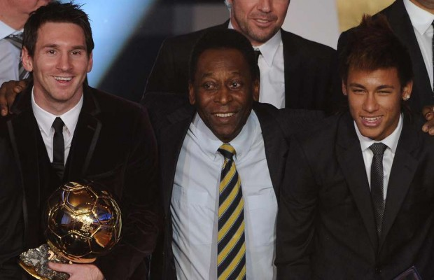Messi and Neymar with Soccer Legend Pele