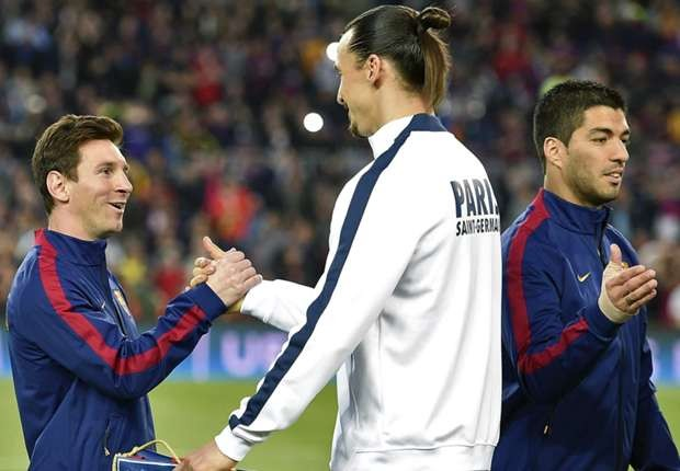 Messi shaking hands with Ibrahimovic