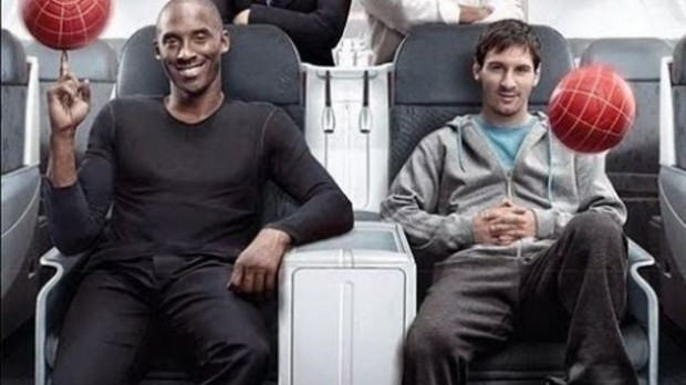 Lionel Messi with Kobe Bryant