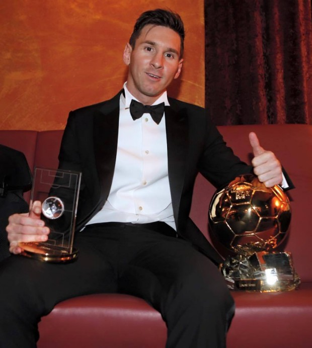 Messi with his Golden Ball trophy
