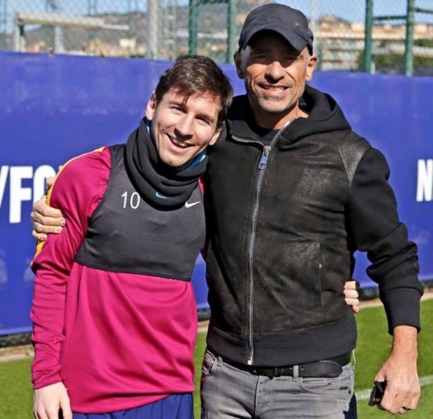 Messi with Eros Ramazzotti