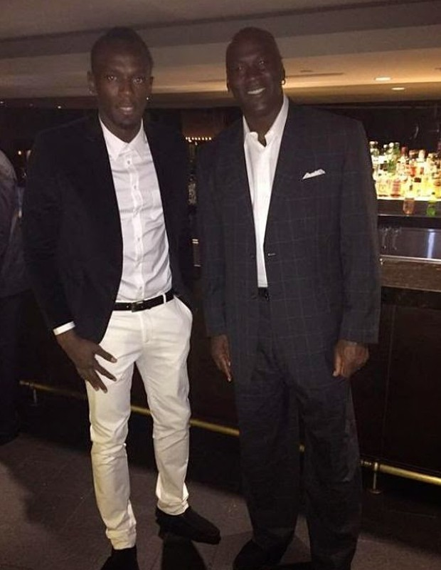 Michale Jordan with Jamica Sprinter Usain Bolt