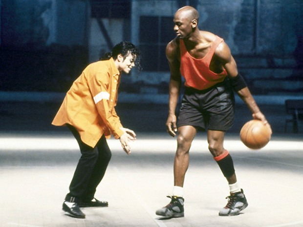 MJ with MJ, Michael Jackson playing basketball with Michael Jordan