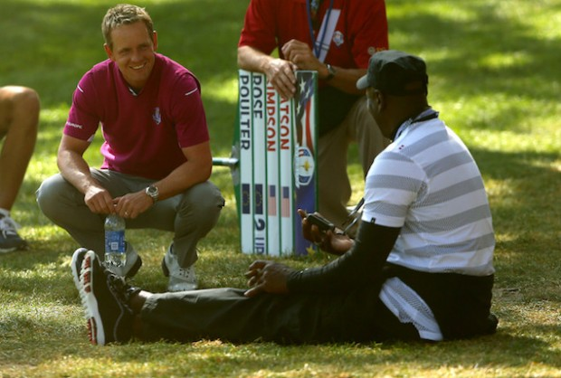 Golfer Luke Donald having a chat with Jordan