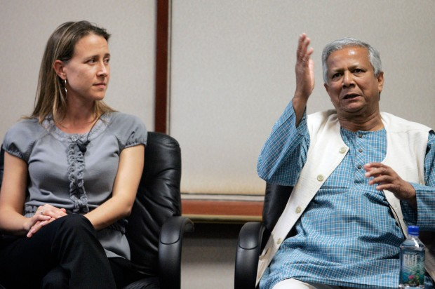 Anne Wojcicki with Bangladesh Entrepreneur and Grameen Bank Founder Muhammad Yunus