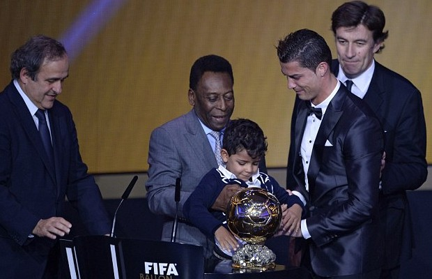 Pele with Cristiano Ronaldo and his son