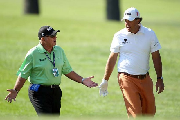 Phil Mickelson with his coach Butch Harmon