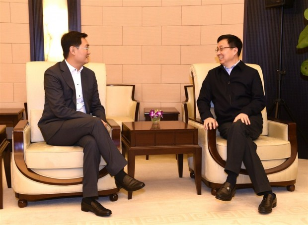 Shanghai Party Chief Han Zheng  talks with Tencent Inc Chairman Pony Ma