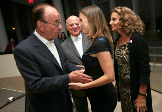 Rupert Murdoch, Barry Diller, Anne Wojcicki and Diane von Furstenberg at the DNA sample party