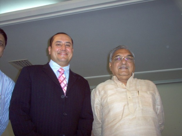 Sabeer Bhatia with Haryana Chief Minister