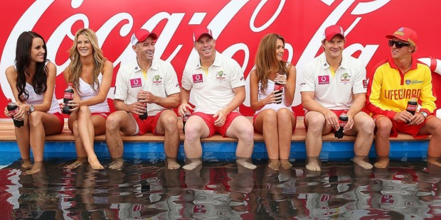 Watson with Other Aussie Cricketers during Coca-Cola Promotion