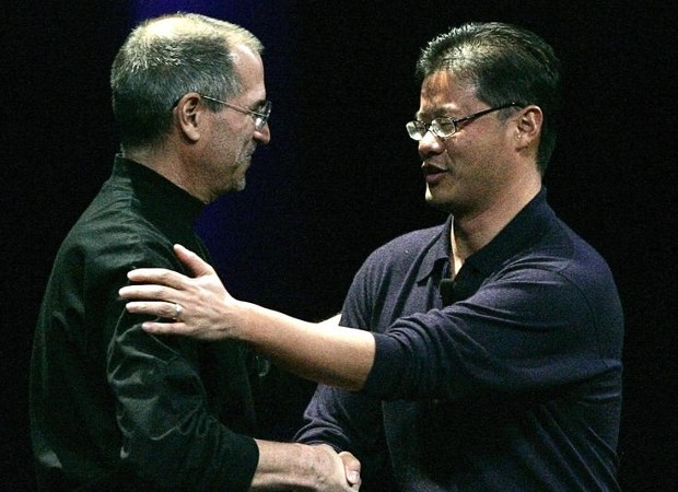 In 2007 Jeery Yang with Steve Jobs