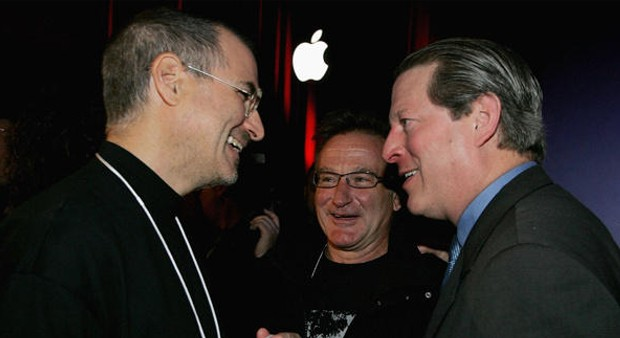 Robin Williams and Al Gore with Apple Founder Steve Jobs