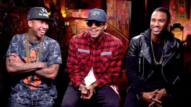 Chris Brown and Trey Song with Tyga