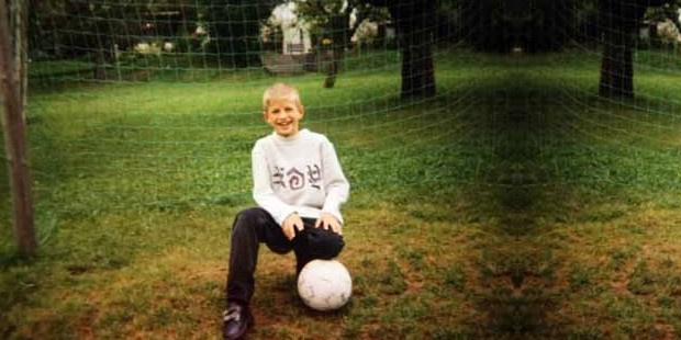 Thomas Muller as a young kid with football