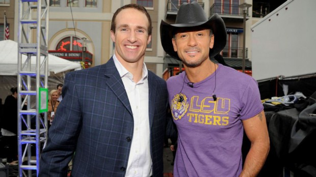 Tim McGraw with Brees for a charity event