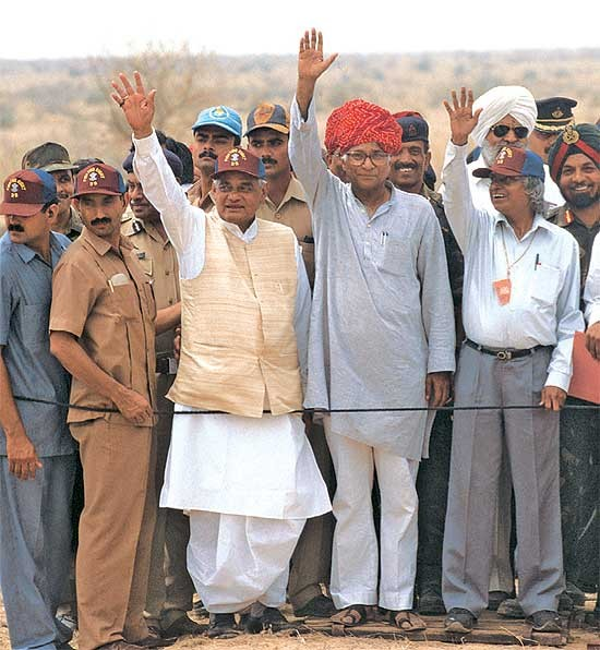 Vajpayee and Abdul Kalam at Pokhran Nuclear Test Place