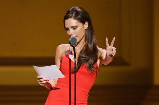 Victoria Beckham Speaks on Stage at 2015 Glamour Awards