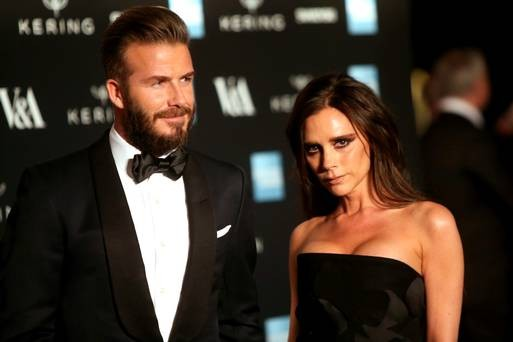 Victoria Beckham and David Beckham at Alexander McQueen Beauty Gala exhibition