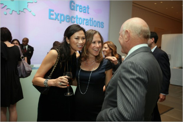 Anne Wojcicki with Wendi Murdoch and Barry Diller at Spirit Party Held in New York City