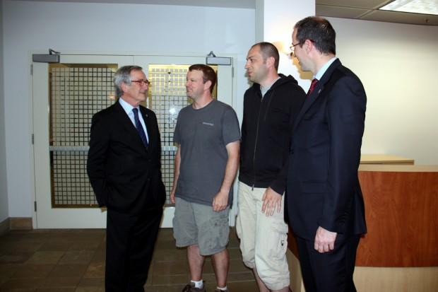 Jan Koum with Brian and Xavier Trais