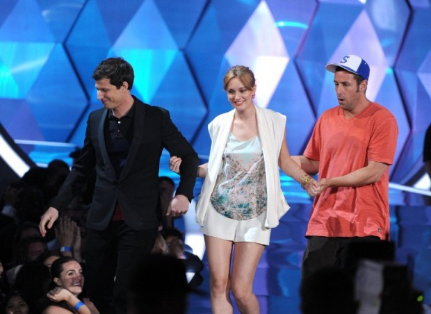 Adam Sandler, Leighton Meester and Andy Samberg at MTV Movie Awards