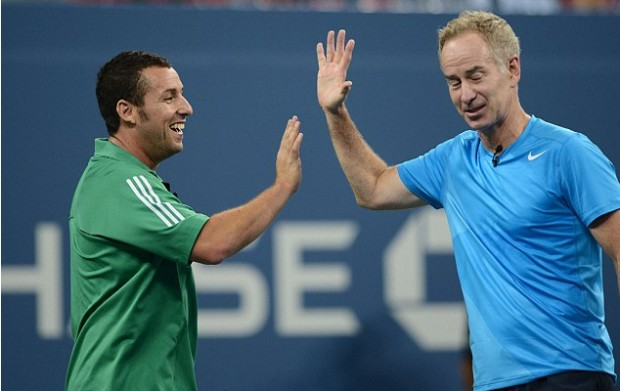 Adam Sandler and McEnroe during US Open Friendly Match