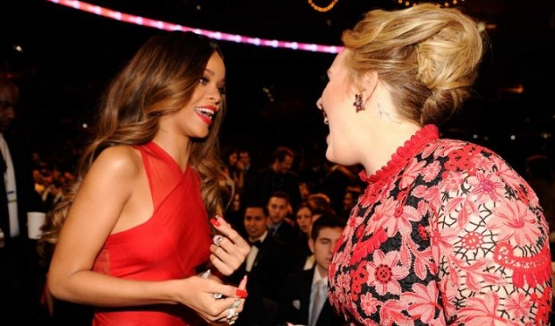 Rihanna with Adele at Event of Grammy