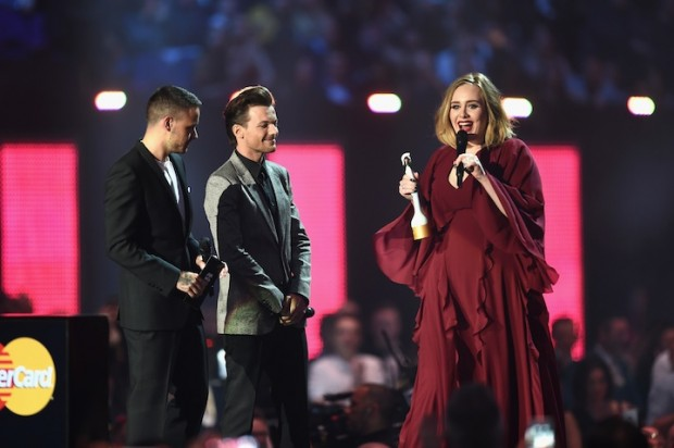 Adele after receiving her 2016 Brit Award