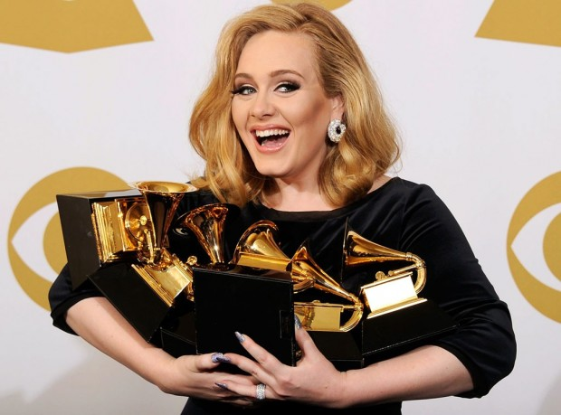 Adele with her Grammy Awards