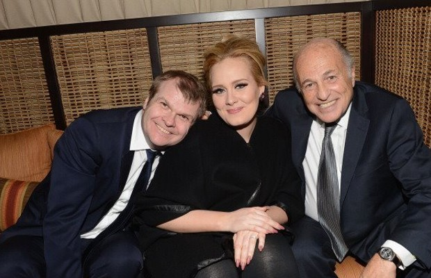 Adele with Doug Morris and Rob Stringer