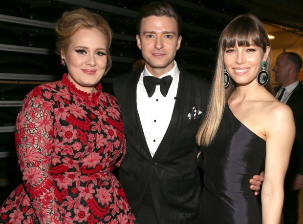 Adele, Jessica Biel and Justin Timberlake at Grammy Awards