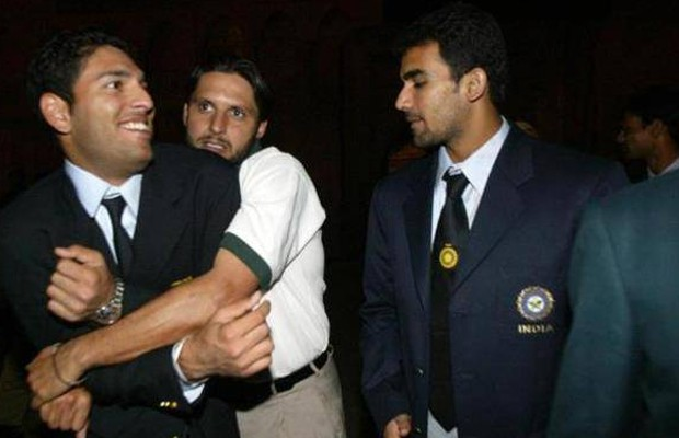 Afridi with Yuvraj Singh and Zaheer Khan