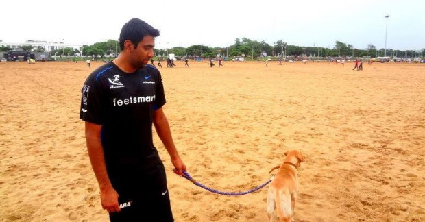 Ashwin with his dog