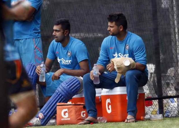 Ashwin and Raina during Practice