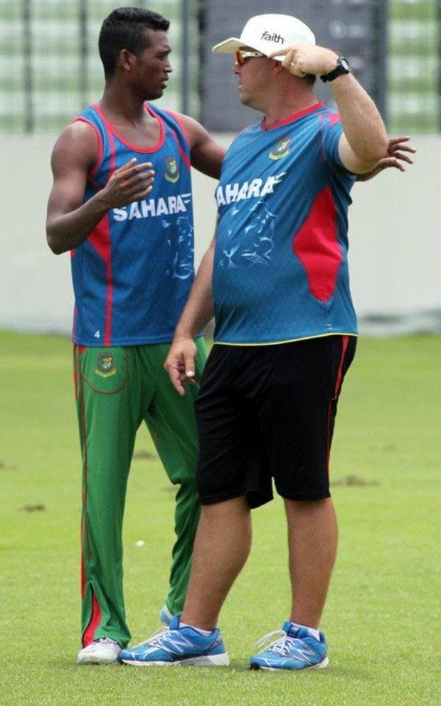 Al Amin Hossain With His Coach
