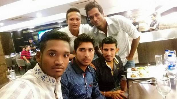 Al Amin Hossain With Shakib Al Hasan, Soumya Sarkar, Nasir Hossain and Rubel Hossain