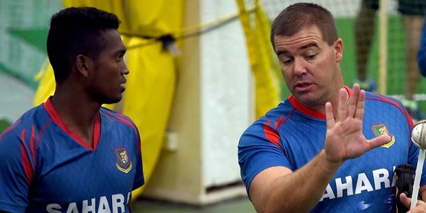 Al Amin Hossain With Bowling Coach Heath Streak
