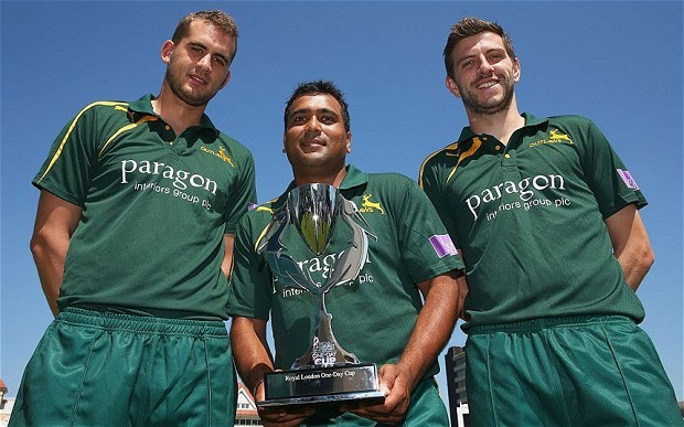 Alex Hales, Samit Patel and Harry Gurney of Nottinghamshire launch the Royal