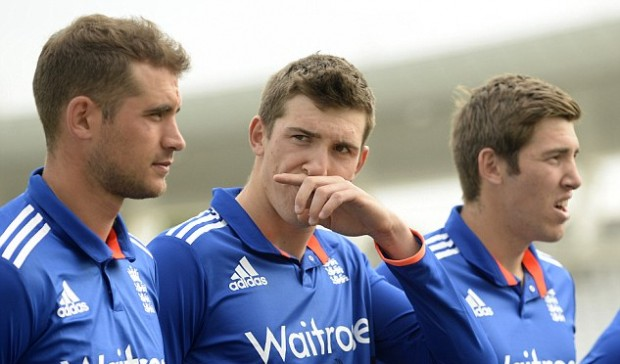 Alex Hales with Craig Overton and Jamie Overton