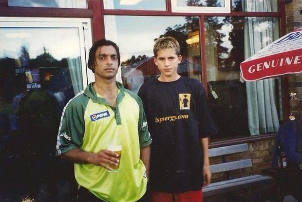 Young Alex Hales with Shoaib Akthar