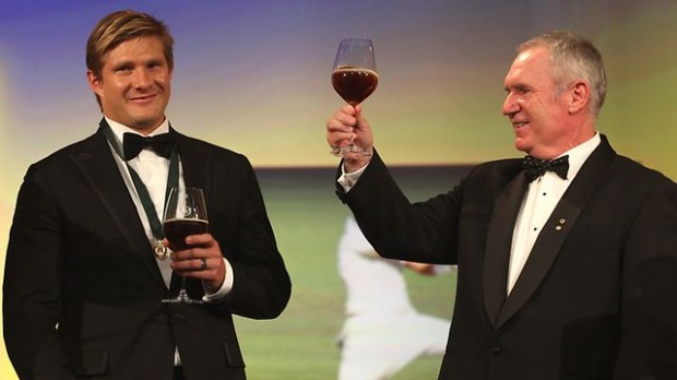 Shane Watson with Allan Border at Allan Border Medal Cermony