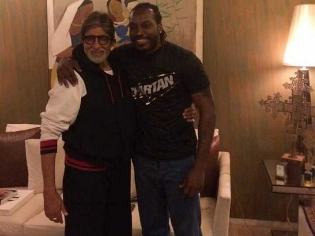 Amitabh Bachchan with West Indies Cricketer Chris Gayle