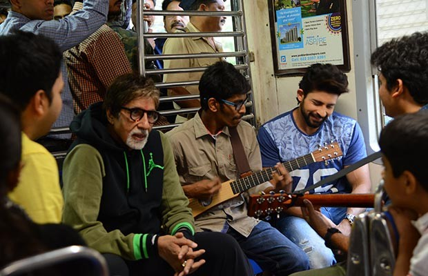 Amitabh in a local train in Mumbai with Fans