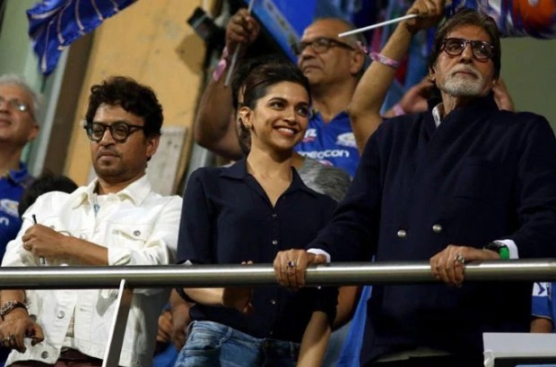 Amitabh watching an IPL Match in Mumbai with Deepika and Irrfan