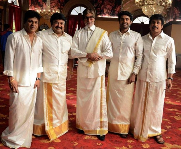 Amitabh Bachchan in South India Attire along with South Indian Movie Stars